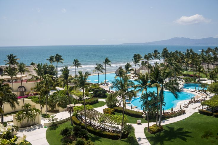 Panoramic view from Grand Velas Riviera Nayarit. Beautiful picture of the infinity pool.