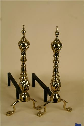Virginia Metalcrafters hand cast solid brass andirons. (MSRP $914.00), Free Shipping