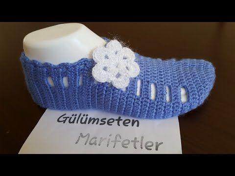 Çiçekli kolay patik yapımı #detaylı anlatım #crochetslippers - YouTube