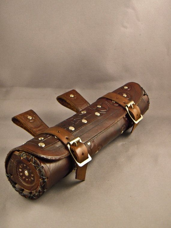 steampunk holsters bag | Steampunk brown horizontal Leather Scroll Case / by IsilWorkShop
