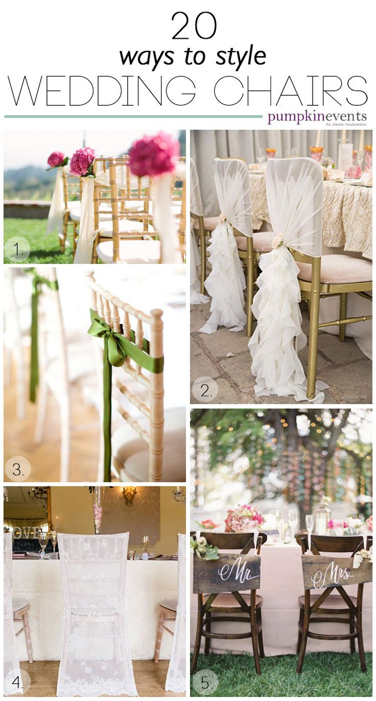 There are so many ways to style wedding chairs we have collected a range for you to be inspired by! Find a style to suit your scheme and get in touch.