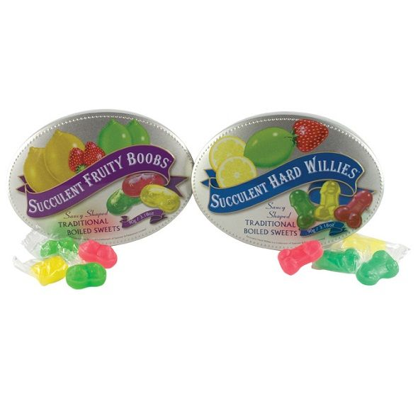 Willie shaped succulent hard candy boiled sweets in assorted fruity flavours.90 gram