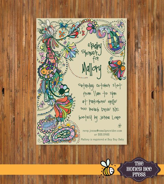 Paisley Baby Shower Invitation - Gender Neutral Baby shower invitation - item 0087