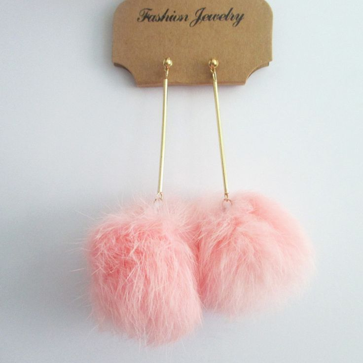 Fashion Real Rabbit Fur Pom Pom Ball Dangle Earrings 6cm Pom Pom 7colors Drop Earrings Stylish Design Cute Earrings for Costume