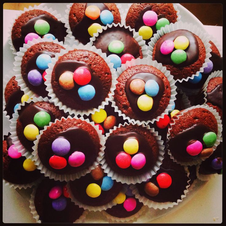 Chocolate muffins with smarties