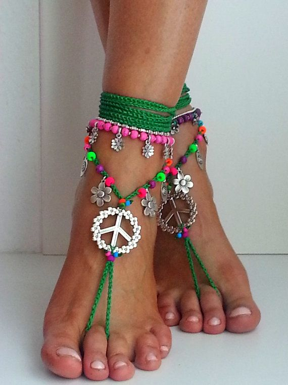 Hippie barefoot sandals forest green colorful neon pink by FiArt