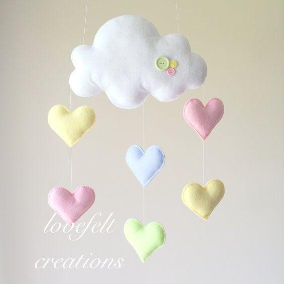Nube bambino mobile cuore mobile mobile di lovefeltmobiles