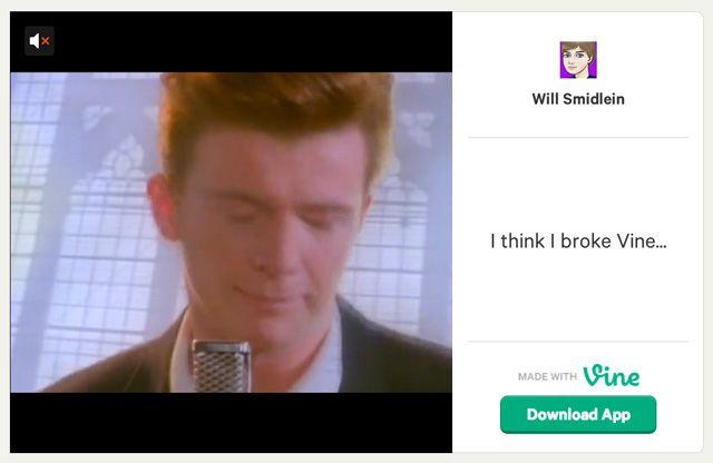 Teen Web Developer Rickrolled a Full-Length Music Video on Vine