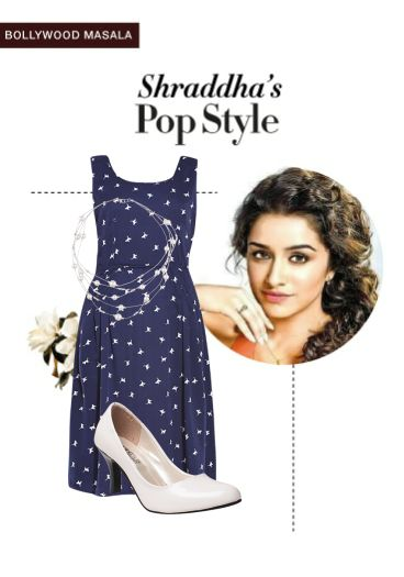 'Shraddha's pop style' by me on Limeroad featuring Printed Blue Dresses, White Necklaces with White Pumps