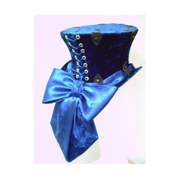 CUSTOM MADE Steampunk Top Hat in Blue Crushed Velvet : GypsyLadyHats - ArtFire Accessories ($140) found on Polyvore