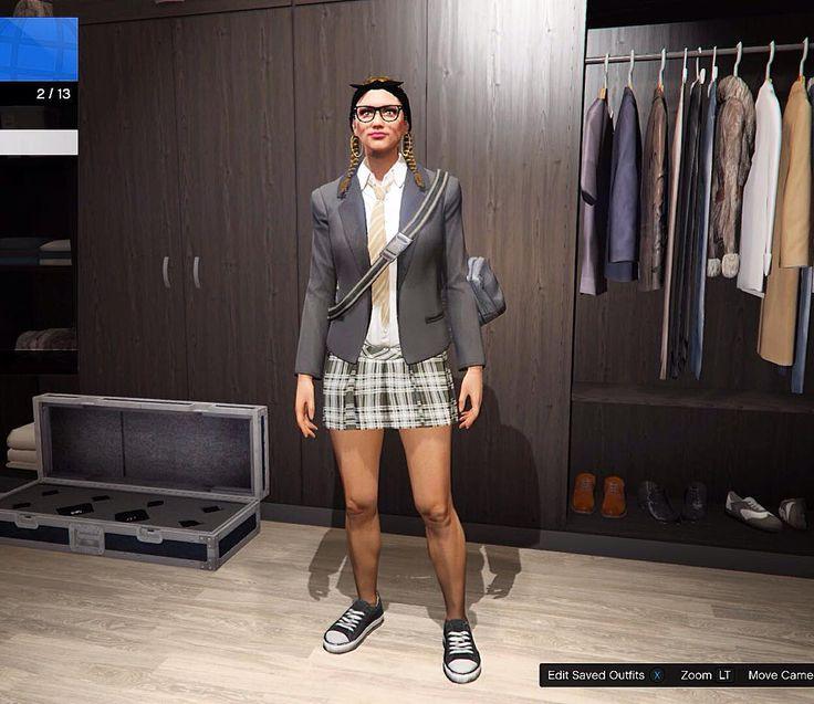 GTA Online - School girl outfit: Hair: Ponytail any color | Glasses: Hipster Glasses | Earings: Classic Hops | Suit Jackets: Slate Blazer w/ White Business shirt | Ties: Tan Stripy Loose Tie | Skirts: Black Plaid Pleated | Shoes: Black Canvas | Optional: Duffel Bag. -- Ignore Tags -- #gtav #gta #gtaonline #grandtheftauto  #xboxone #ps3 #xbox #gaming #playstation #unitedkingdom #ps4 #gtafive #follow4follow #gtafiveonline #australia #psn #money #england #xbox360 #ireland #gta5online #gamer…
