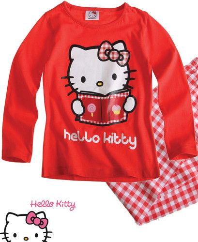 $12.48 Girls Officia Hello Kitty Red Pyjamas Nightwear Age 2 4 6 8 | eBay