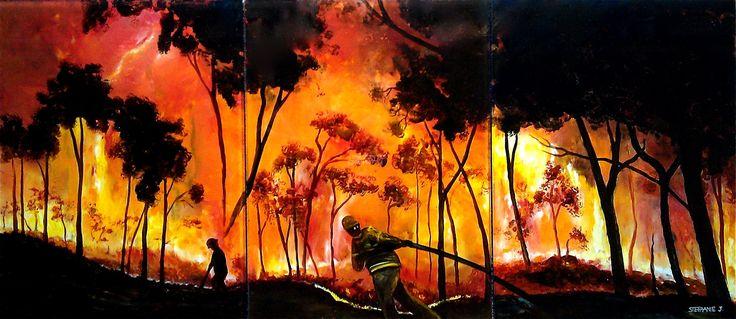 Original art for sale, Battling the Bushfire by Stephanie Jakovac