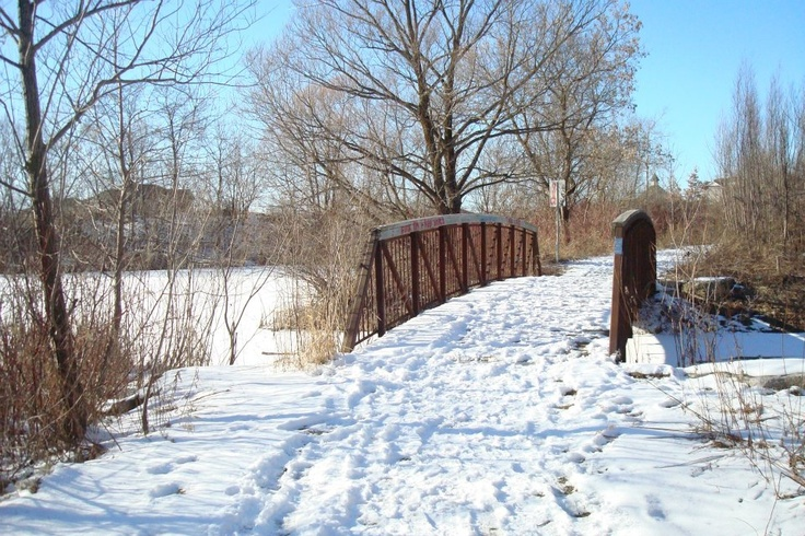 Markham Ontario trail for walking. Winter time