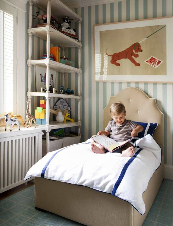 Adoorable little boys room: Beds, Stripes Wall, Children Rooms, Cute Boys, Boys Bedrooms, Little Boys Rooms, Dogs Prints, Big Boys Rooms, Kids Rooms