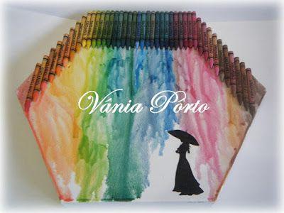 Quadro Giz de Cera. Nesse primeiro, a imagem (moça) foi impressa em cardstock e jato de tinta, recortada e colada com cola de scrapbook.