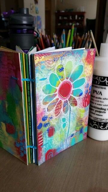 Diane's Mixed Media Art - Another Copic stitched book filled with some watercolor paper and file folder fodder...