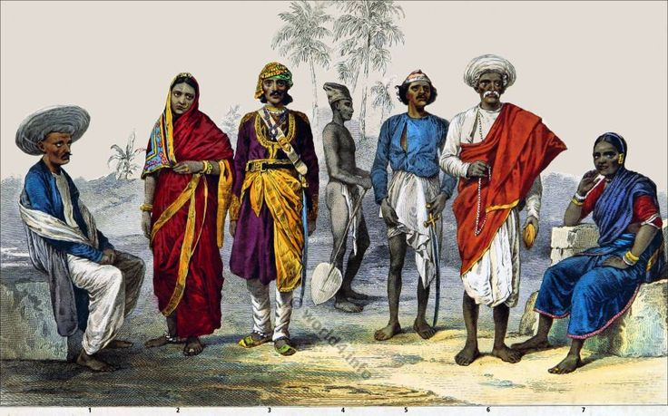 Indian Hindu in their typical costumes. Caucasian Race.
