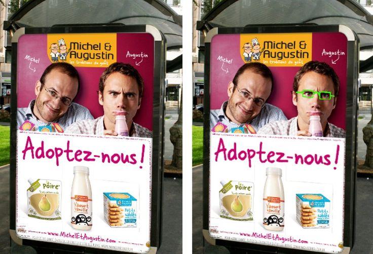"""Première campagne d'affichage sur 6000 abribus. Dans le lot, 3 affiches """"à lunettes"""" permettait de faire gagner un voyage en Mongolfière. Toujours aussi ludique la com ' Michel et Augustin"""