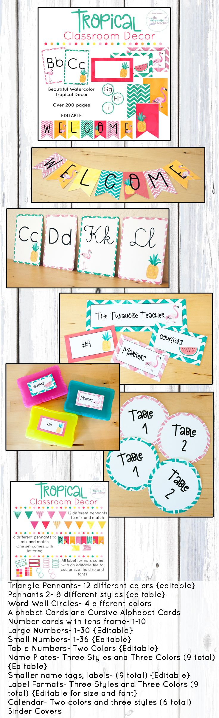 Tropical Classroom Decor | Fully Editable | Flamingos | Summer | Beach | Pineapple | Flamingo | Watermelon | Bring a little color and flair into your classroom! This set comes with so many different colors, styles, and clipart for you to customize your classroom ( over 200 pages! ). Created to allow you to mix and match your favorite colors to bring a little island breeze into your room. All templates come in an editable format to make your own names tags, locker tags, labels, signs, class…