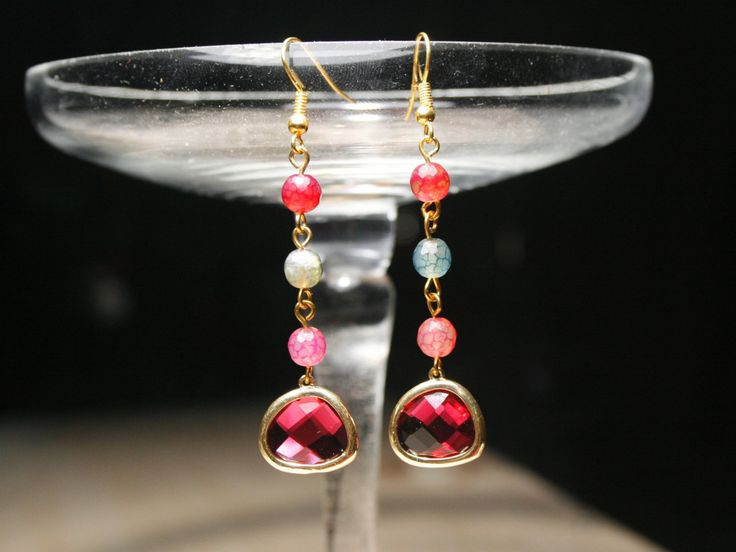 Long Crystal dangle earrings, red Crystal drop earrings, Agate earrings, crystal gold dangle earrings, crystal gold drop earrings, for her by SanguineJewelry on Etsy
