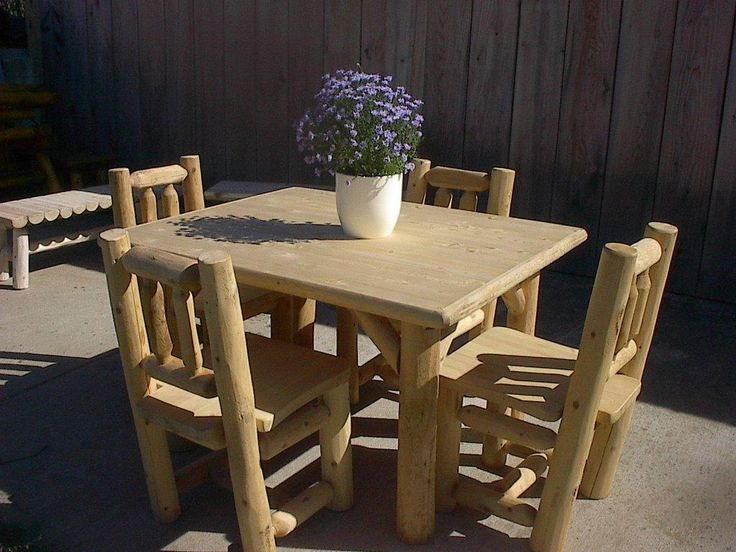 White Cedar Log Rustic Table And Chairs Set. Amish Hand Crafted, Made In The