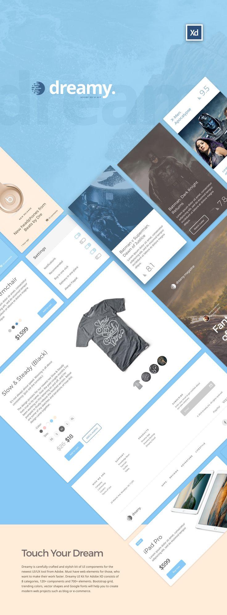 Dreamy UI Kit for Adobe XD on Behance