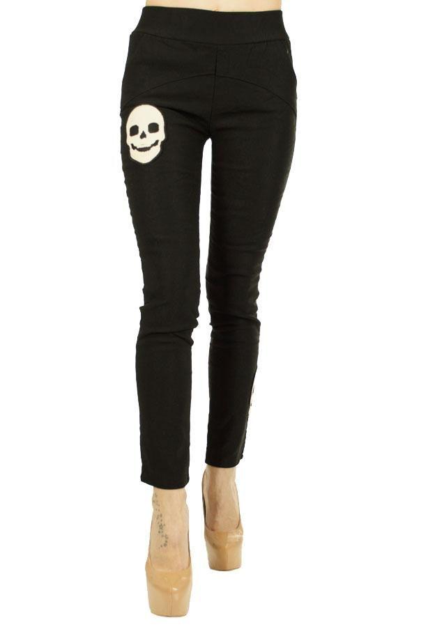 Pantalon Dama White Skull  Pantaloni dama casual. Material elastic, vatuit pe interior ce poate fi purtat cu usurinta in sezonl rece.  Imprimeu stil rock. Detaliu buzunare de efect la spate.     Compozitie: 95%Poliester, 5&Elasten