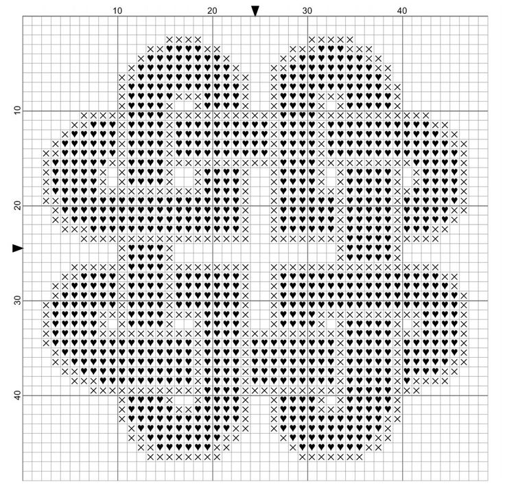 chart for knotted hearts free cross stitch pattern, a small Celtic knotwork cross stitch design