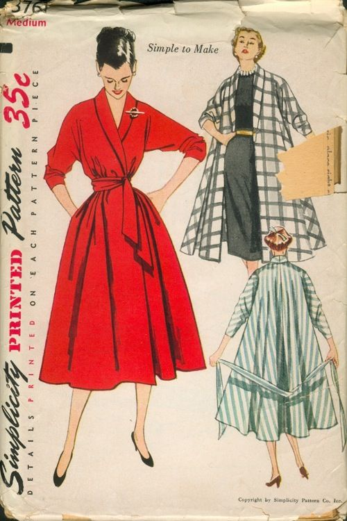 1951 Simplicity #3761 Coat Dress, Coat & Robe Pattern. Love the Classic Shawl Collar & Push Up Sleeves! by vintagepatterns.wikia.com
