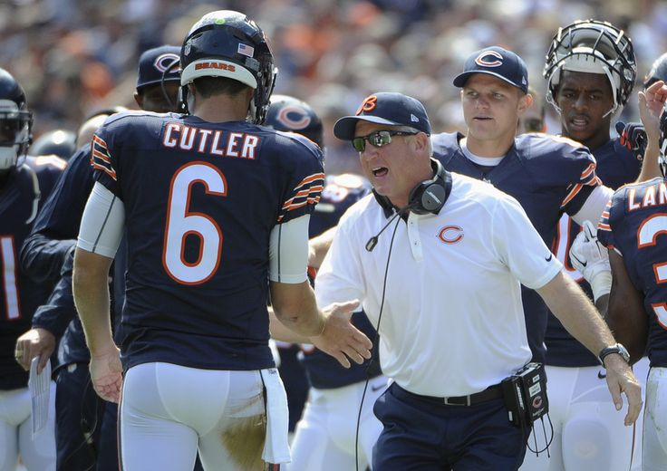 Chicago Bears Notes: QB Jay Cutler has strained hamstring - John Fox wouldn't offer much more about the Bears' signalcaller - By KEVIN FISHBAIN — kfishbain@chicagofootball.com - Published: Sept. 21, 2015 — 4:37 p.m. - Chicago Bears head coach John Fox celebrates a touchdown with quarterback Jay Cutler (6) during the first half of an NFL football game against the Arizona Cardinals, Sunday, Sept. 20, 2015, in Chicago. (AP Photo/David Banks)
