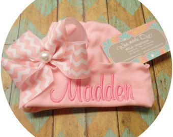 Sweet Hospital Newborn Hat Personalized newborn hat with handmade bow with Happy Days Or Princess Script Font and Mint with gold Polka Dot Bow, with gold Center. Please leave your choice of first name only, or last name only info during checkout. I can only add first and middle names if the first or last name is very short, such as Ava or Mia... The name size is approximately 3 inches long and 1.25 inches wide from top to bottom of the first letter. Please read these policies and ask…