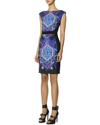 Cap-Sleeve Printed-Front Sheath Dress, Multicolor by Emilio Pucci at Bergdorf Goodman.