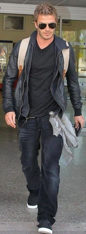 David Beckham - Leather, dark, and comfy