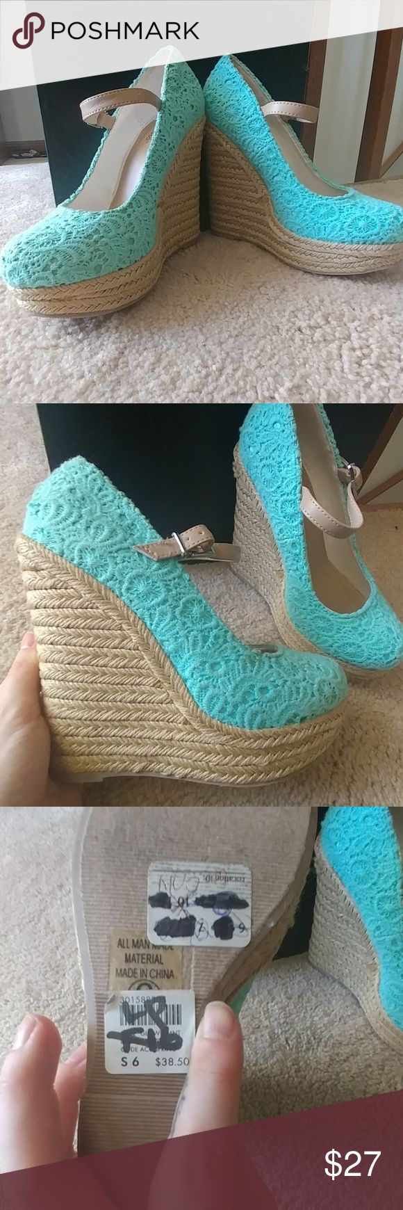 NWT Mint Wedges Perfect for spring! Mint green Charlotte Russe wedges. Never worn, but does not come with box. Size 6. I consider all offers. Charlotte Russe Shoes Wedges