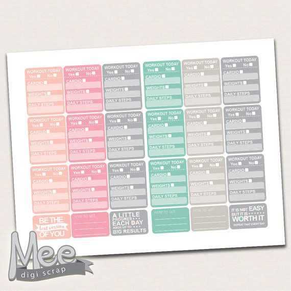 Workout stickersFitness printable planner by MeeDigiScrap on Etsy