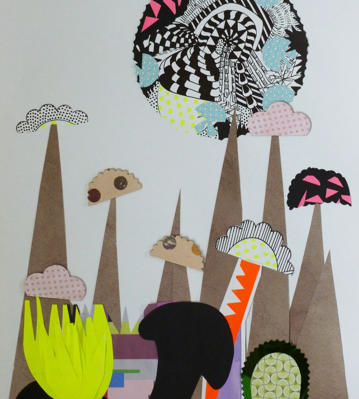 ONE OF A KIND COLLAGE OF PAPERCUTS, FABRIC ETC.  BY CONTEMPORARY ARTIST MAGGIE KEMPINSKA    COMES WITH A BLACK, NATURAL OR METAL FRAME    SIZE 40X50CM WITH PASSEPARTOUT // 15,7 X19,68 INCHES.    ALSO VISIT www.maggiekempinska.com