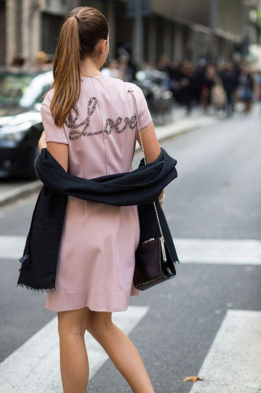 SS16 streetstyle details Love title mini dress A-line  black scarf  ponytail