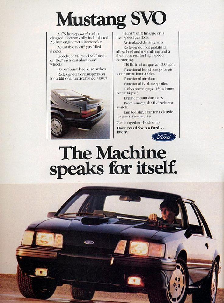 1984 Ford Mustang SVO Ad