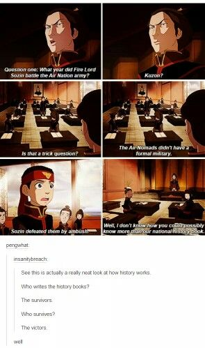 You see, and the fire nation history writers don't want to seem lame by taking out an entire section of bending by mere ambush, claim they had a military.