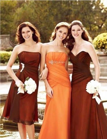 bridesmaid dresses....pretty much exactly what I want (as far as color) for my Autumn wedding.  Only thing, I want a warmer orange, like burnt orange.  The brown could be a bit warmer and darker too