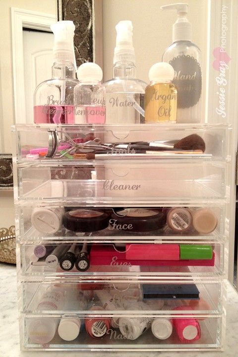 Simple Dimples: Bathroom Organization  Love the bottles of make-up cleaner, brush cleaner and all the labeled trays.