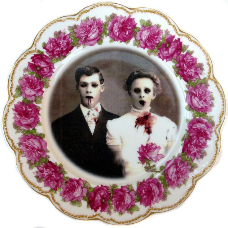 Zombie Love, Wedding Portrait - Altered Antique Limoges Plate