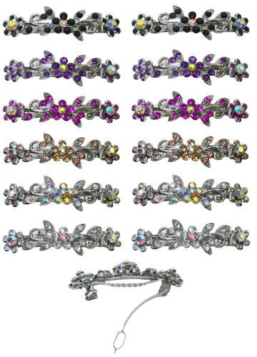 Dozen Pack of 12 Barrettes with French Clip Clasp and Sparkling Stones U86250-1366-D1 *** Read more reviews of the product by visiting the link on the image.