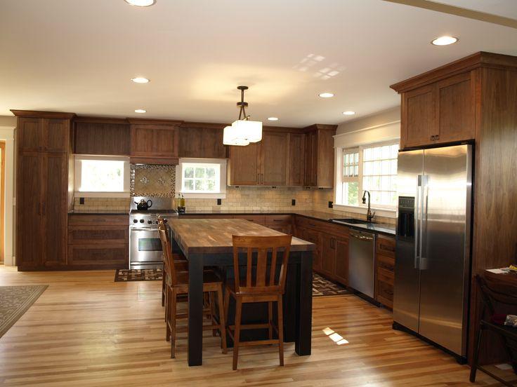 dark cabinet light wood floor | Kitchen Ideas | Pinterest