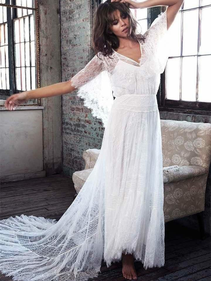 Exquisite Lace V-neck Neckline Short Sleeves A-line Wedding Dresses WD158