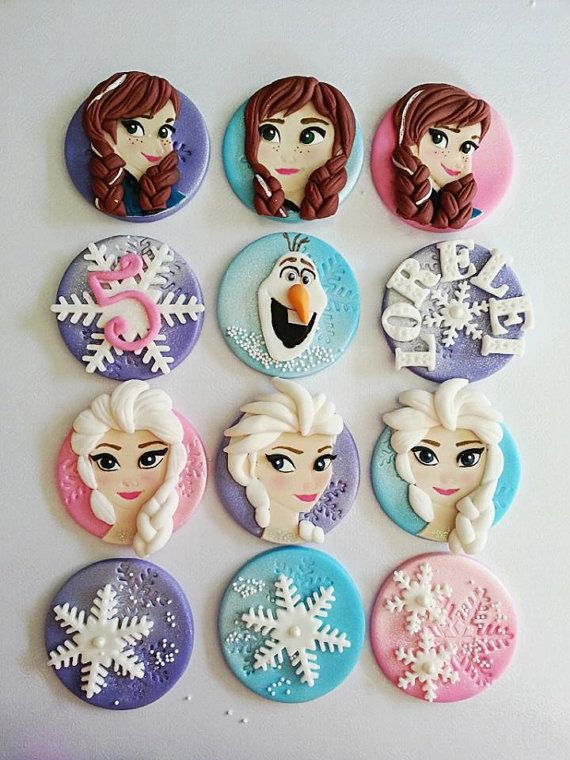Frozen Fondant/Edible Theme cupcake toppers by DsCustomToppers