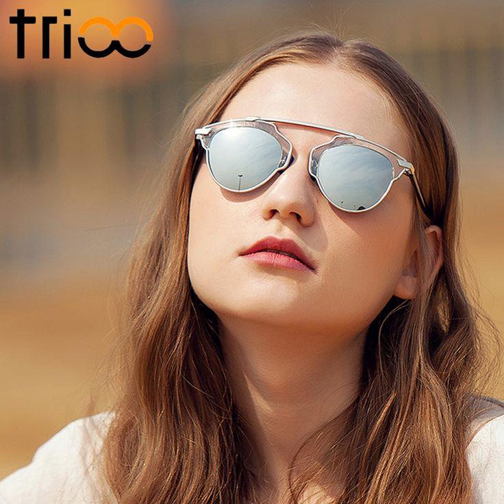TRIOO Chic Luxury Polarized Sunglasses Women Black Transparent Frame Oculos Polarizado Silver Lens Shades Sun Glasses For Women