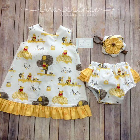 Delantal de chicas vestir Winnie el Pooh con volantes delantal