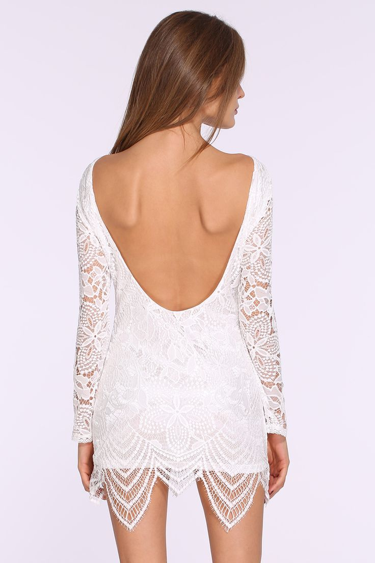 White Long Sleeve Hollow Lace Backless Dress 19.99